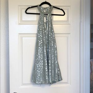 Mint green and silver star-patterned shift dress